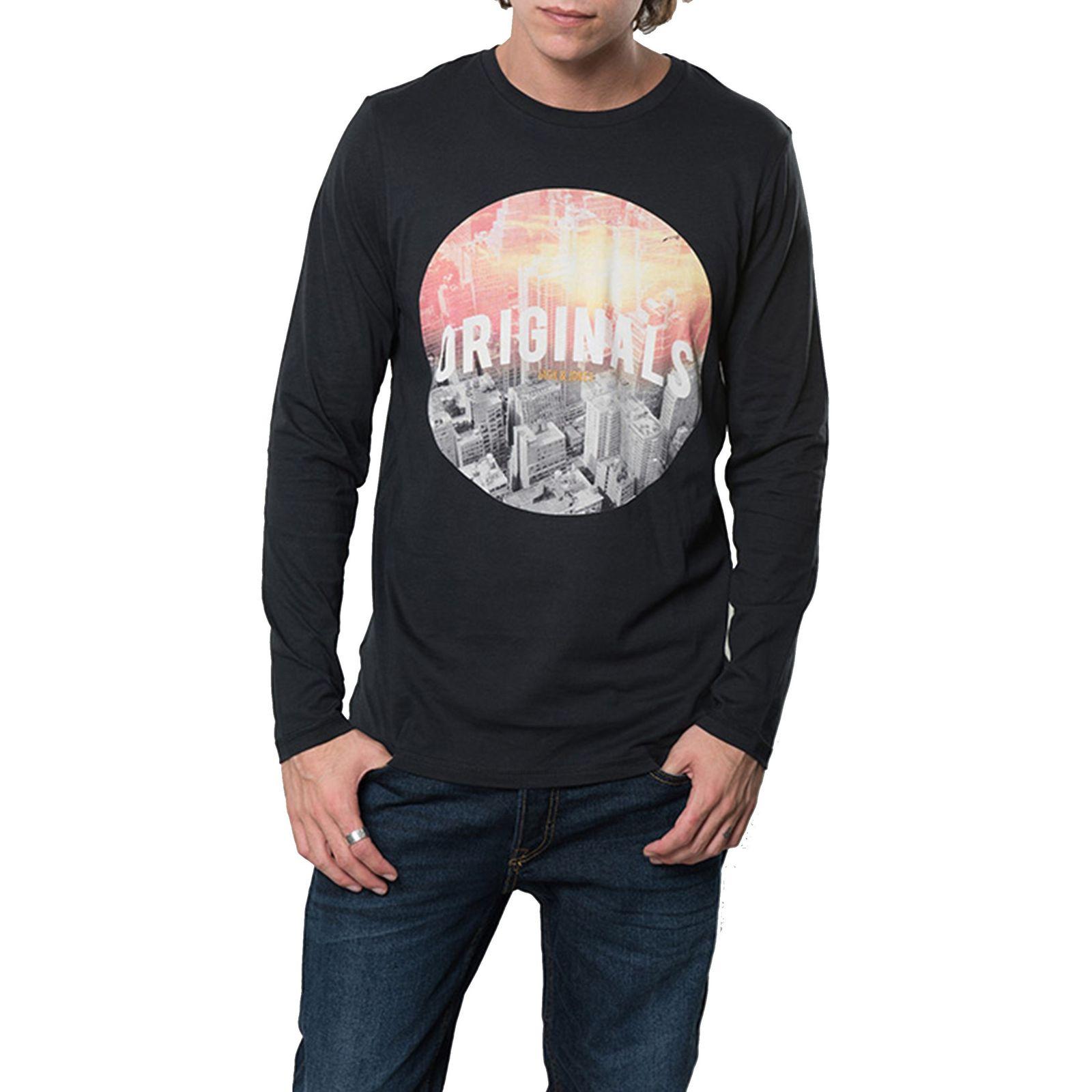 تی شرت نخی آستین بلند مردانه - جک اند جونز - مشکي - 1
