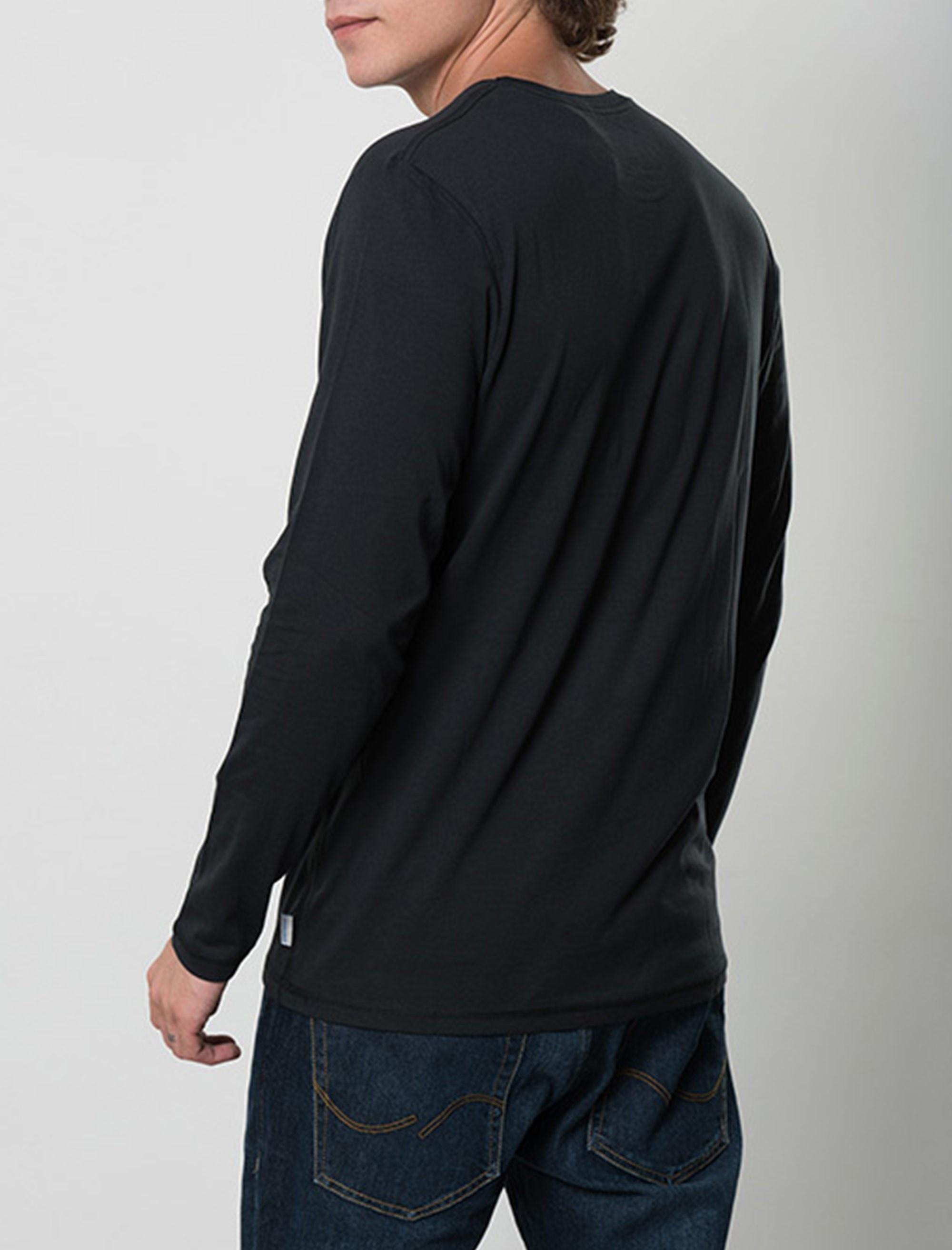 تی شرت نخی آستین بلند مردانه - جک اند جونز - مشکي - 2