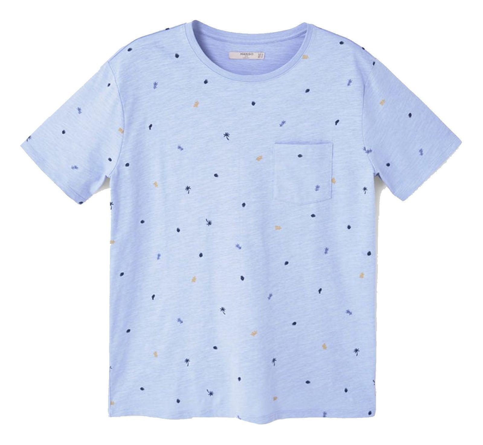 تی شرت نخی یقه گرد مردانه - مانگو - آبي روشن - 1