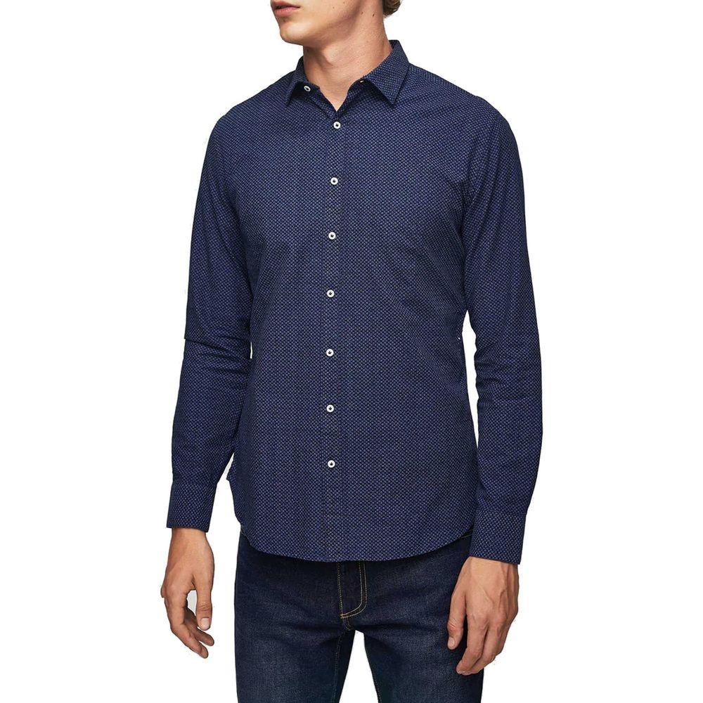 پیراهن نخی یقه برگردان آستین بلند مردانه - مانگو