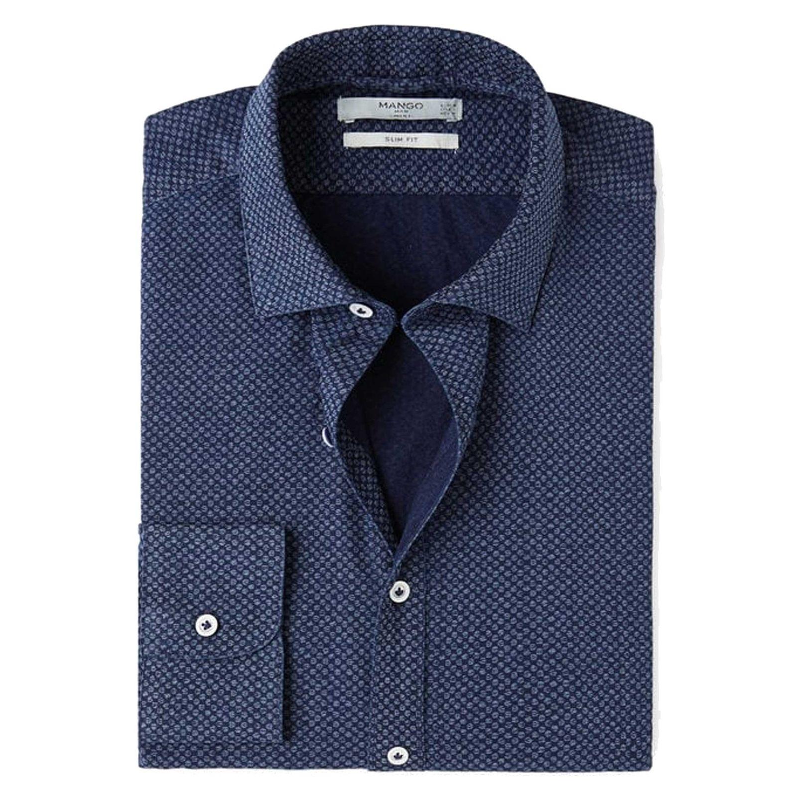 پیراهن نخی یقه برگردان آستین بلند مردانه - مانگو - آبي تيره - 6
