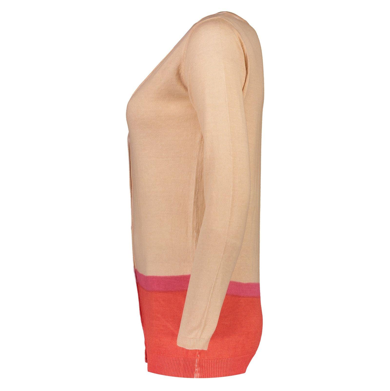 ژاکت نخی دکمه دار زنانه - زی - کرم - 3
