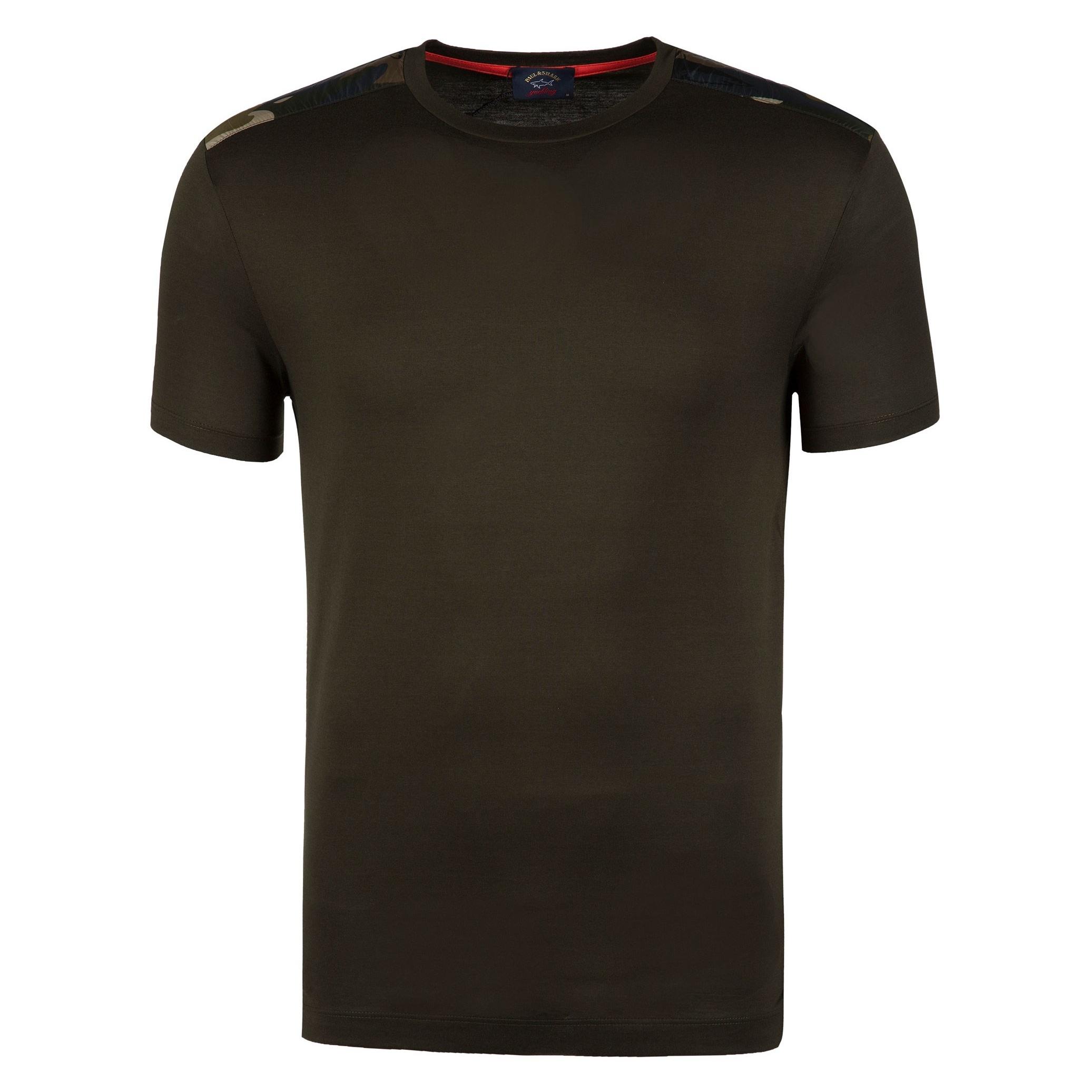 تی شرت نخی یقه گرد مردانه - پاول اند شارک - زيتوني تيره - 1
