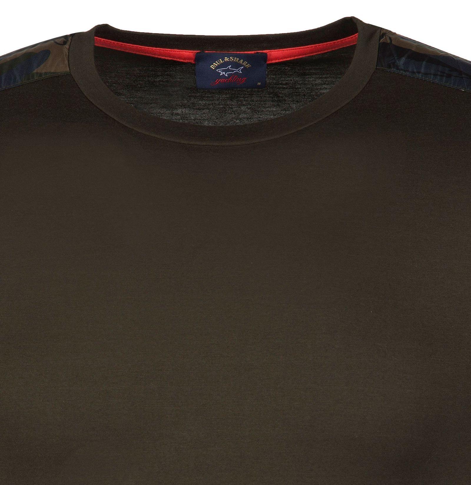 تی شرت نخی یقه گرد مردانه - پاول اند شارک - زيتوني تيره - 3