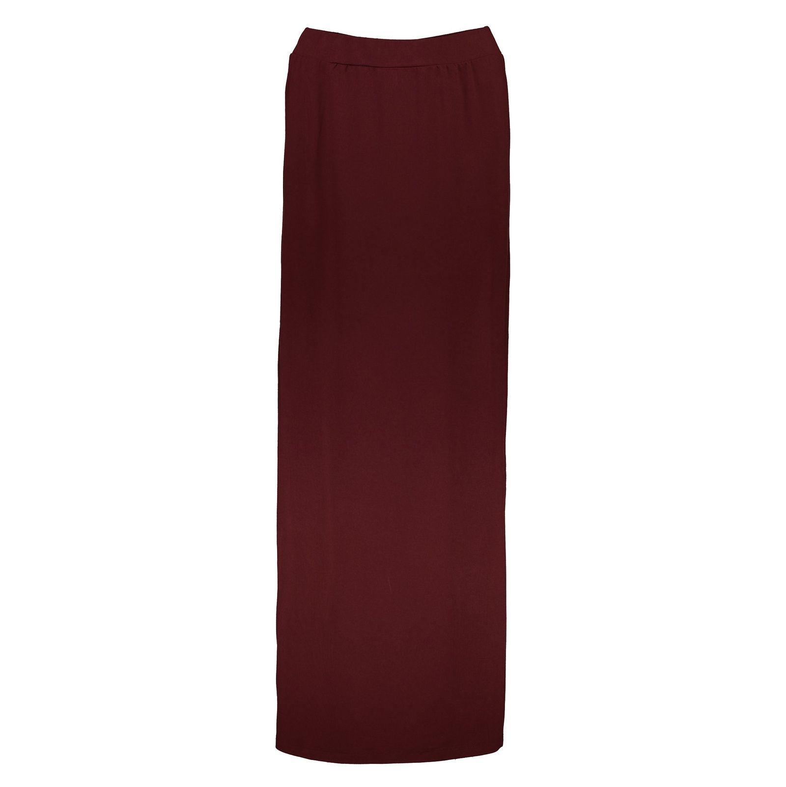 دامن ویسکوز بلند زنانه - جنیفر - زرشکي - 1