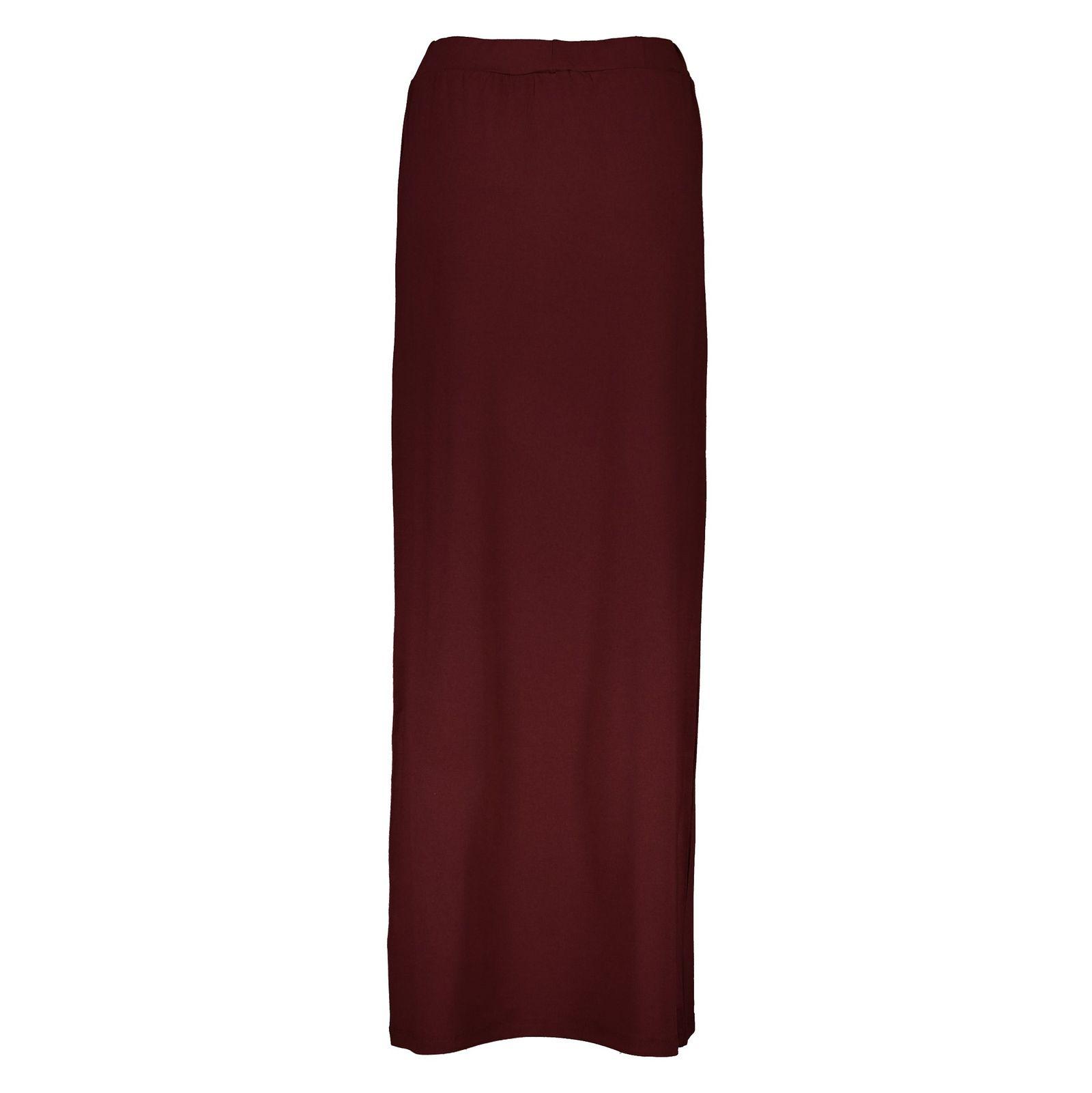دامن ویسکوز بلند زنانه - جنیفر - زرشکي - 2