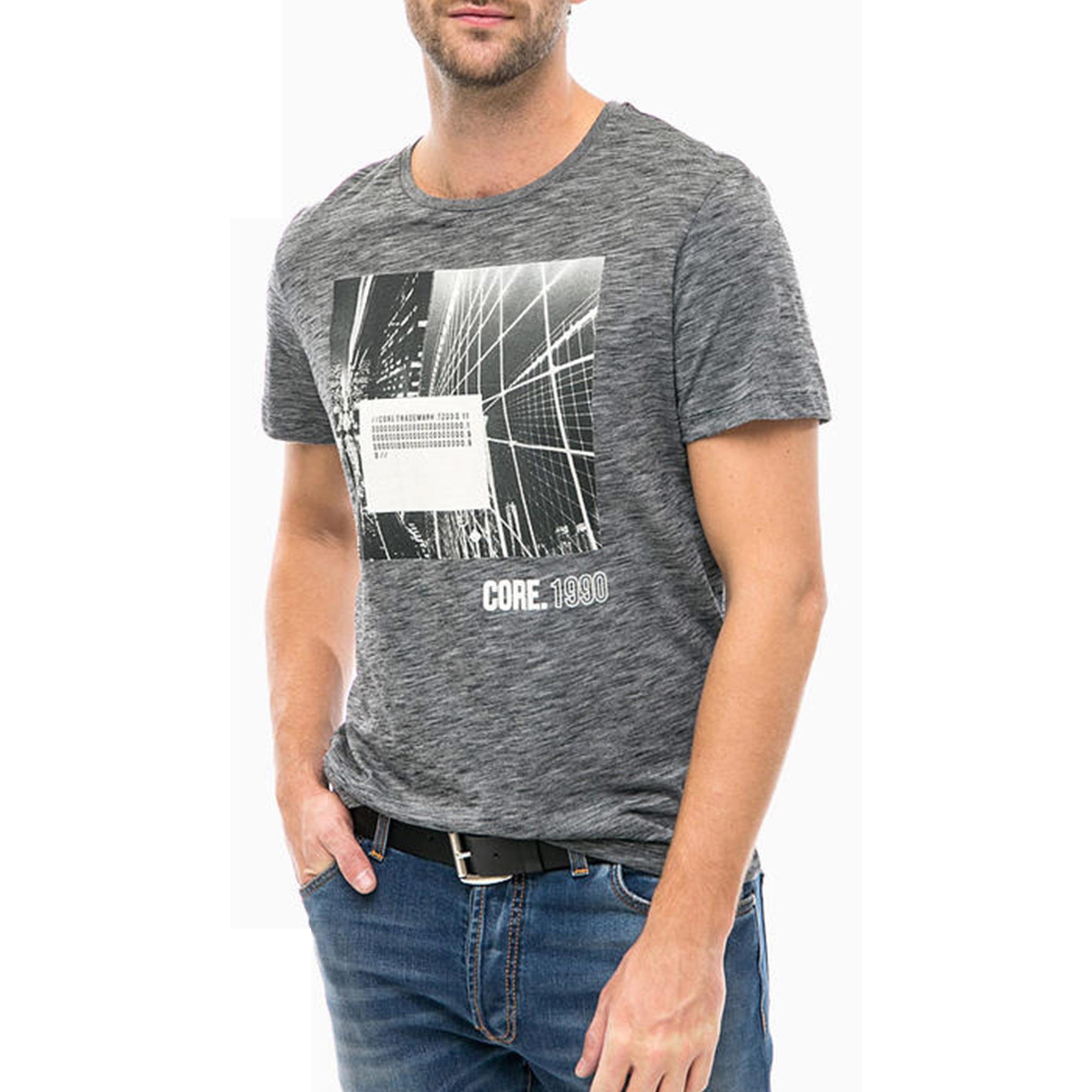 تی شرت یقه گرد مردانه - جک اند جونز - مشکي - 2