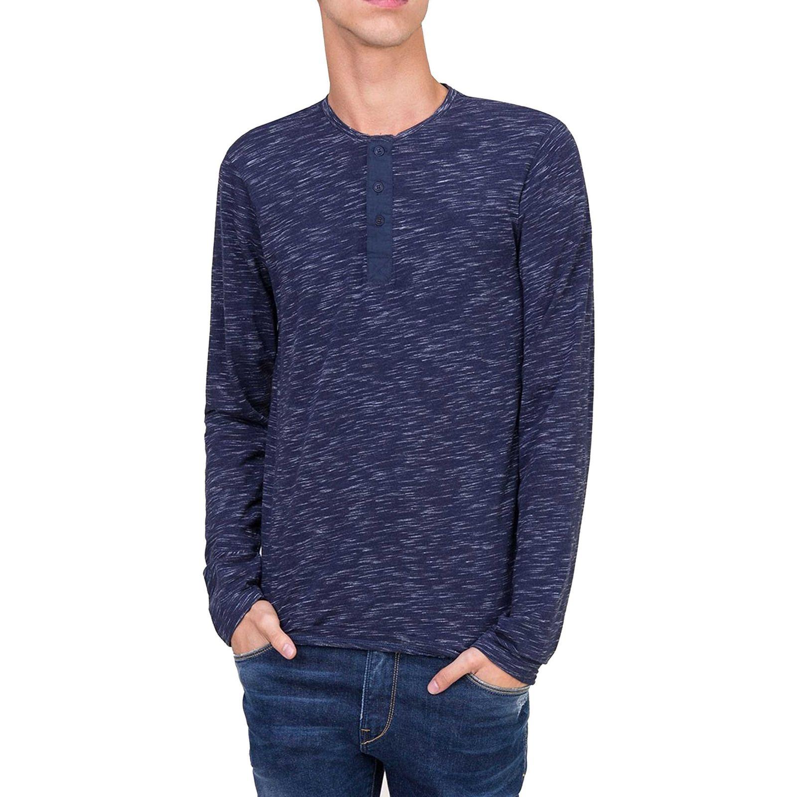 تی شرت نخی یقه گرد مردانه - تیفوسی - آبي - 2