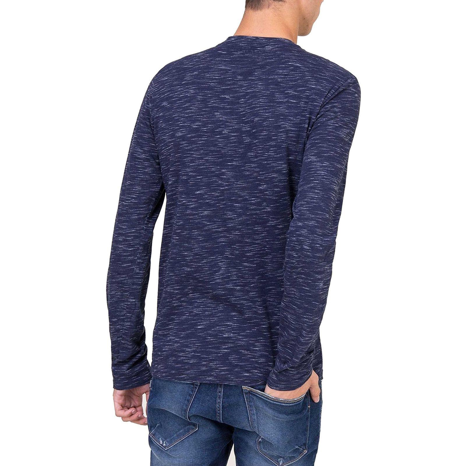 تی شرت نخی یقه گرد مردانه - تیفوسی - آبي - 3