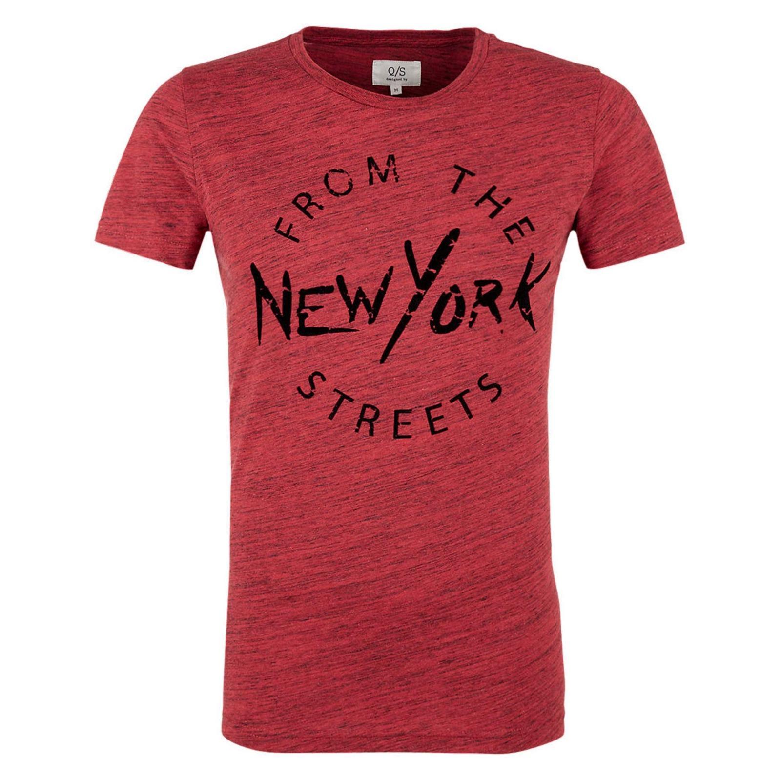 تی شرت نخی یقه گرد مردانه - اس.اولیور - قرمز - 1