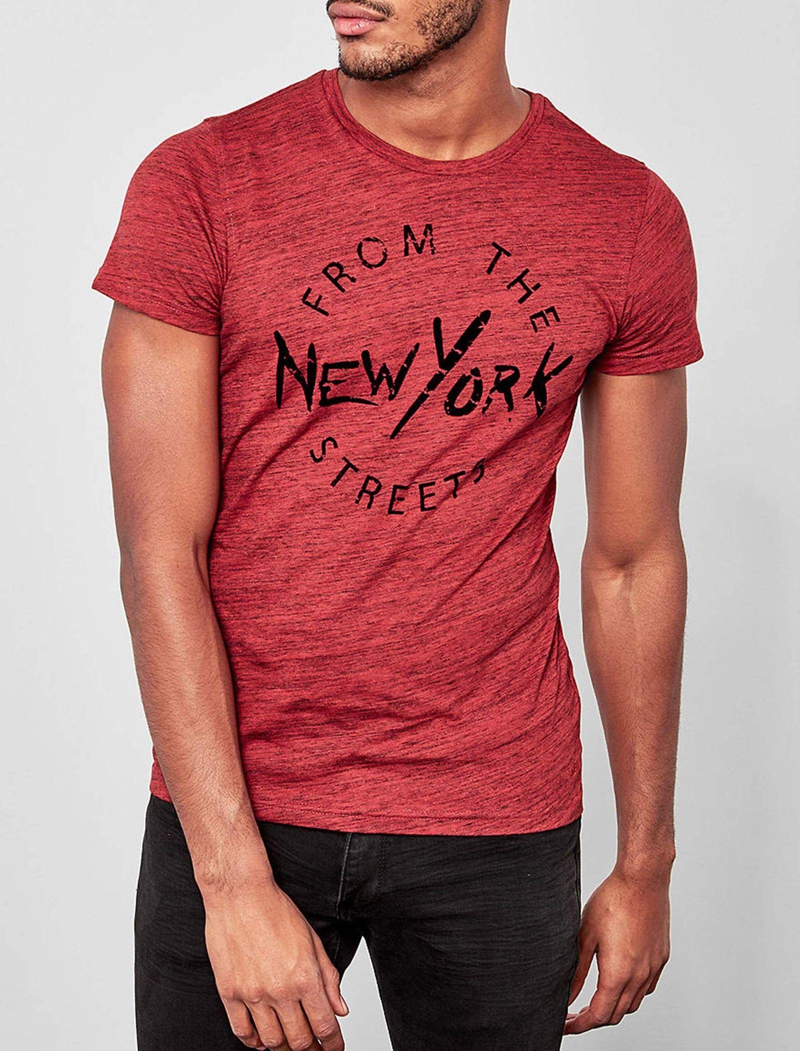 تی شرت نخی یقه گرد مردانه - اس.اولیور - قرمز - 2