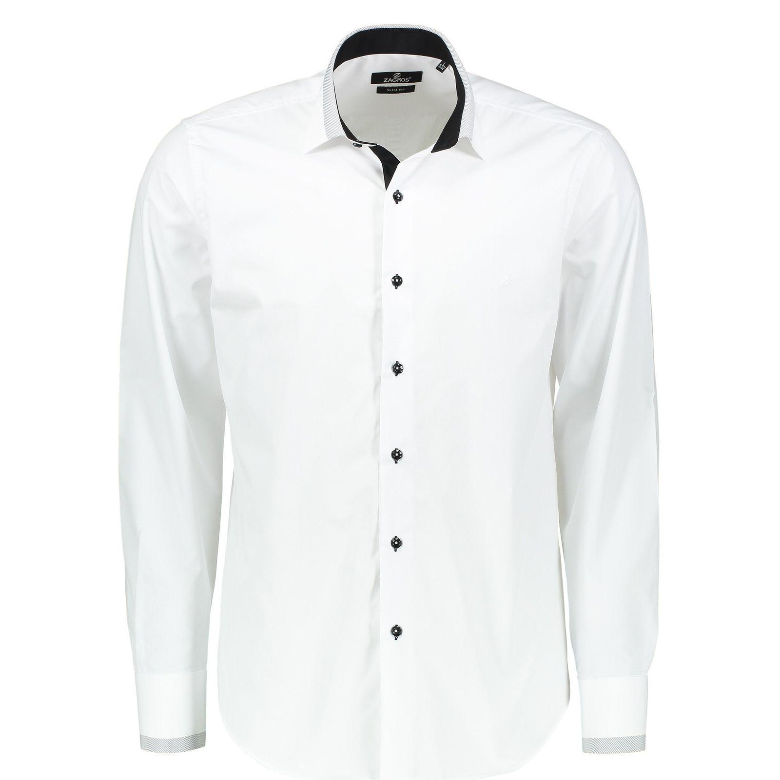 پیراهن رسمی مردانه - زاگرس پوش - سفيد - 1