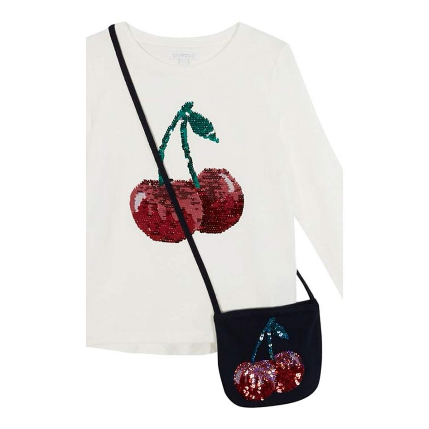 تی شرت نخی آستین بلند دخترانه - بلوزو - سفيد - 3