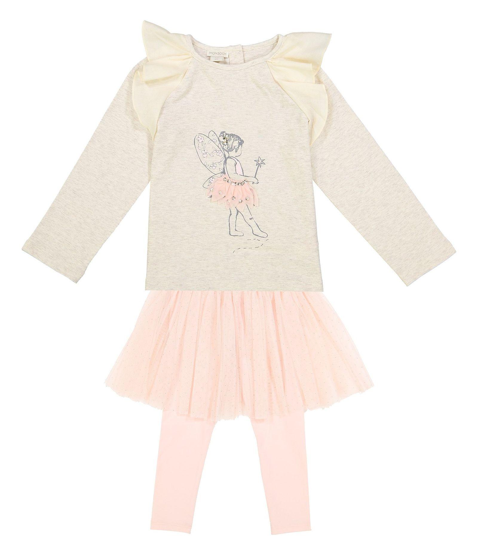 تی شرت و دامن نخی نوزادی دخترانه - مانسون چیلدرن - صورتي/طوسي - 1