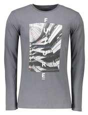 تی شرت نخی یقه گرد مردانه - تیفوسی - طوسي - 1