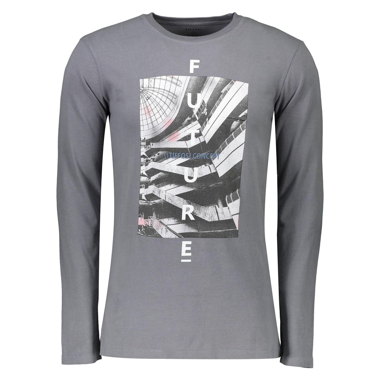 تی شرت نخی یقه گرد مردانه - تیفوسی - طوسي - 2