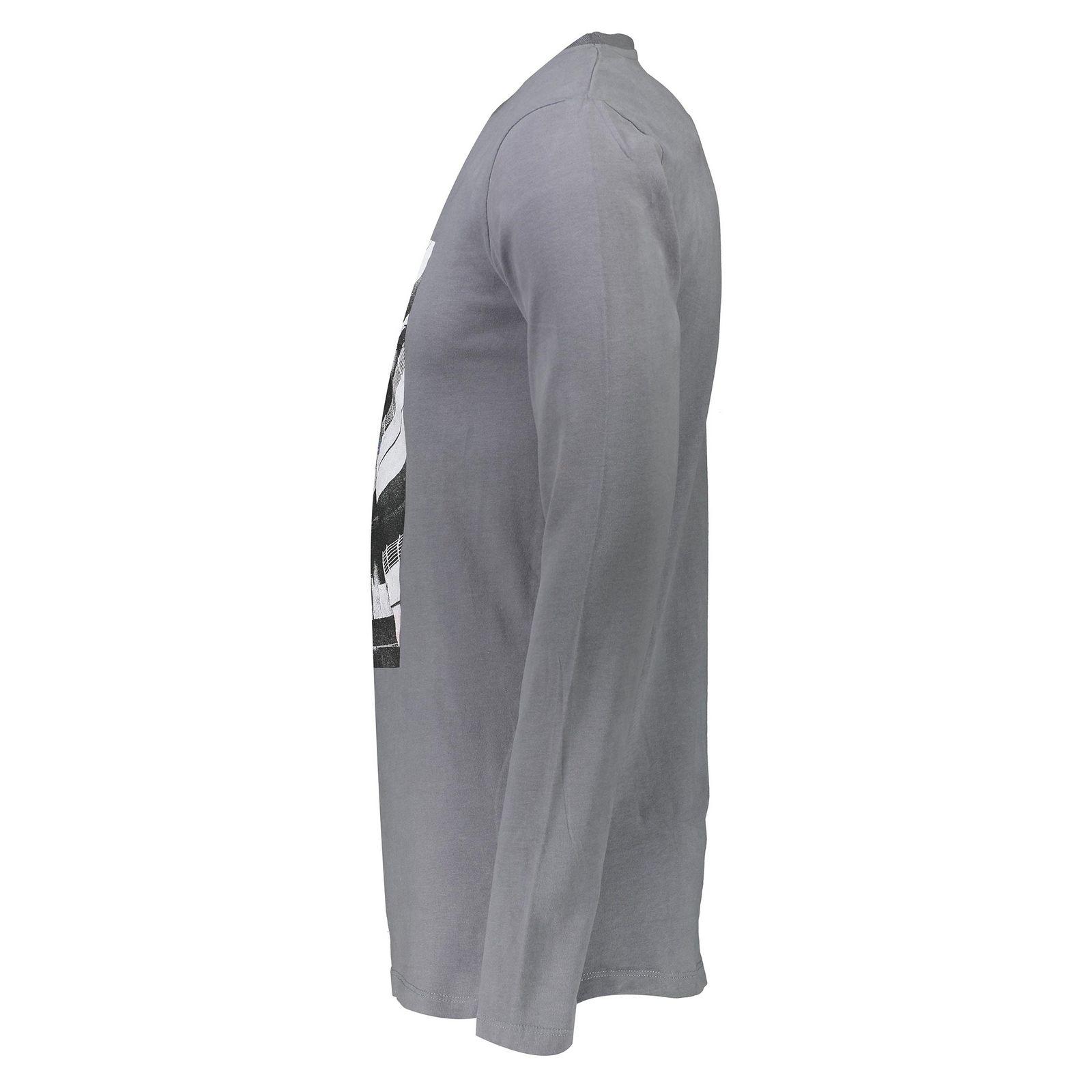 تی شرت نخی یقه گرد مردانه - تیفوسی - طوسي - 3
