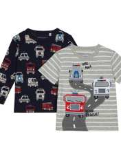 تی شرت نخی یقه گرد پسرانه بسته 2 عددی - بلوزو - طوسي/سرمه اي - 1