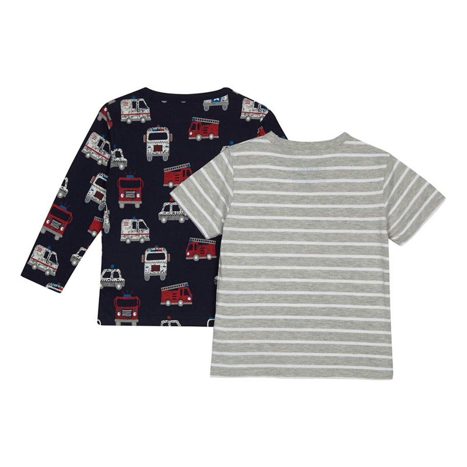 تی شرت نخی یقه گرد پسرانه بسته 2 عددی - بلوزو - طوسي/سرمه اي - 2