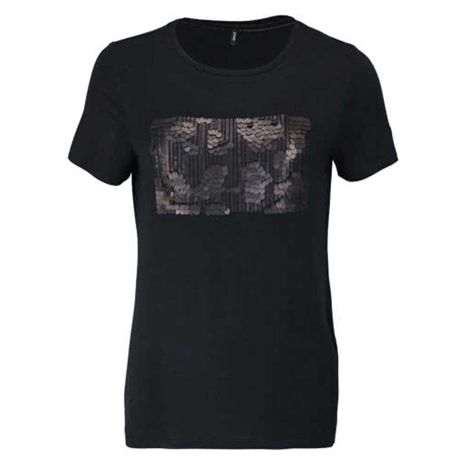 تی شرت ویسکوز یقه گرد زنانه - اونلی - مشکي - 1