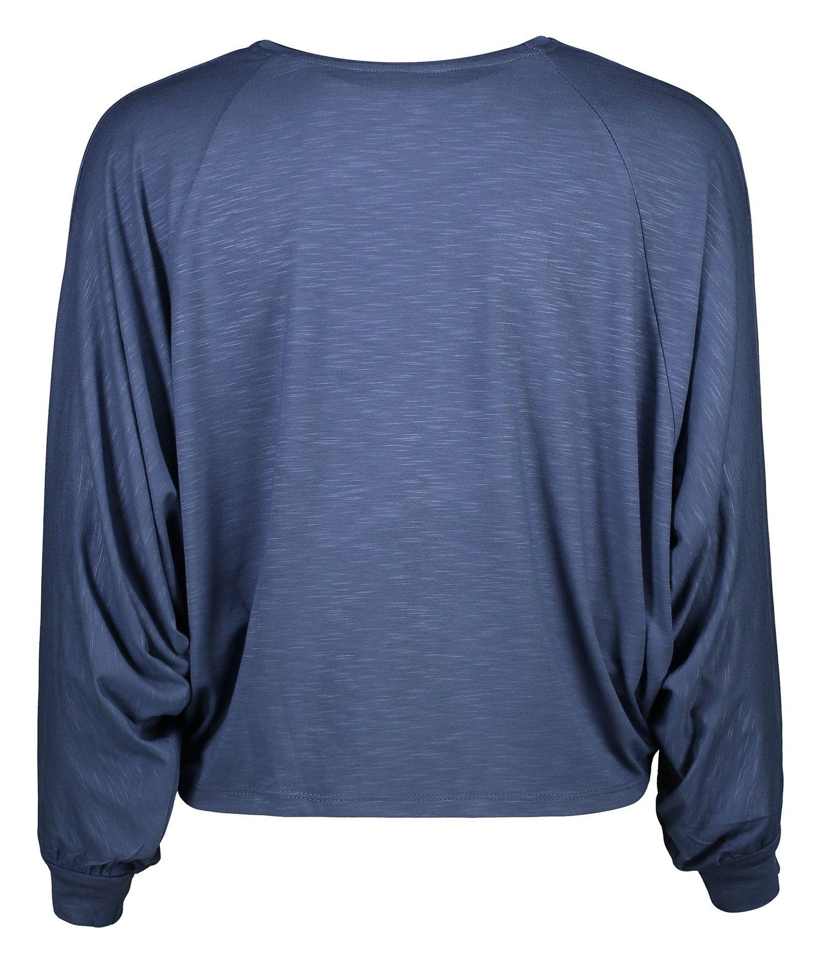 تی شرت ویسکوز آستین بلند زنانه - گارودی - آبي نفتي - 2