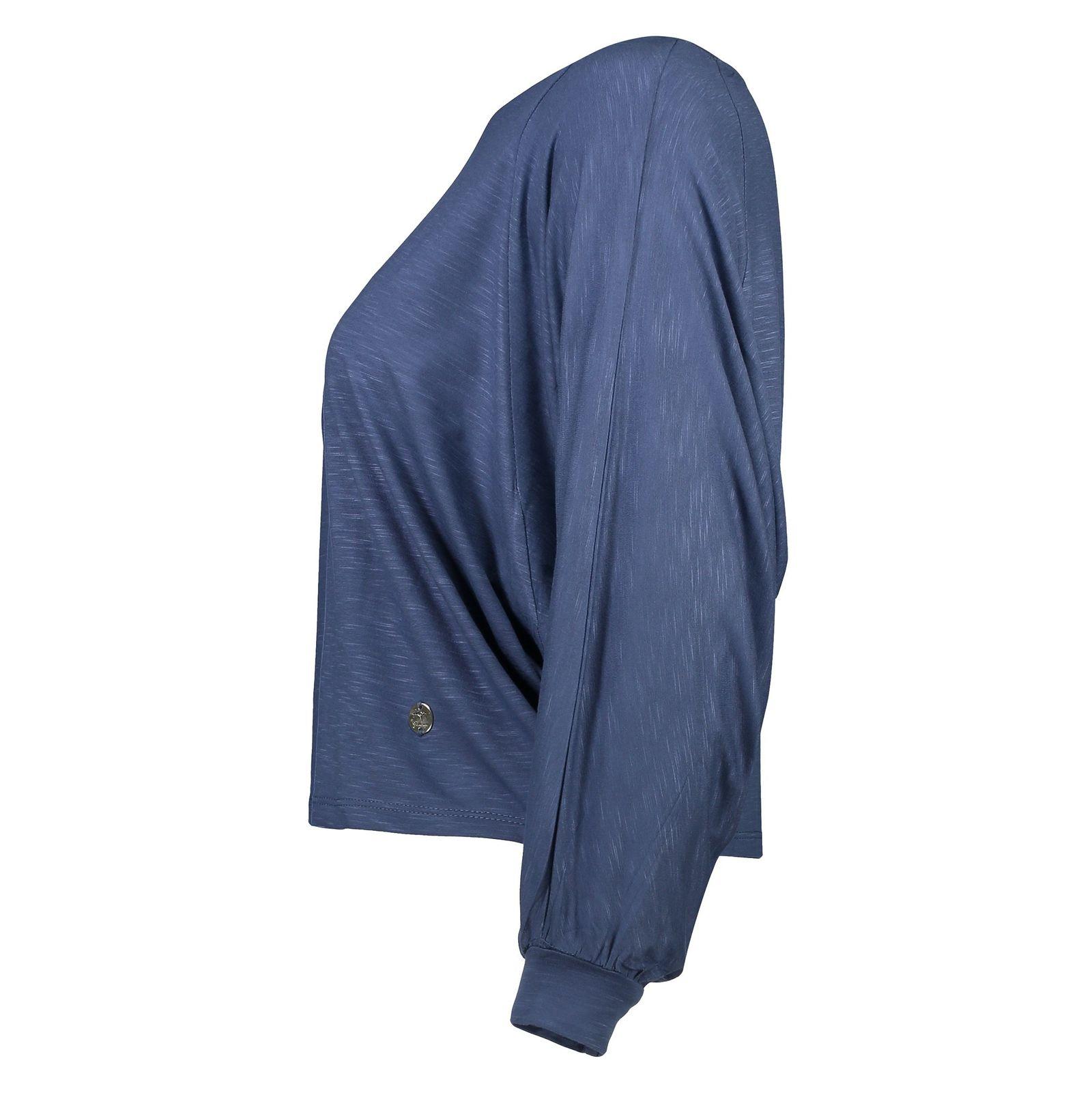 تی شرت ویسکوز آستین بلند زنانه - گارودی - آبي نفتي - 3