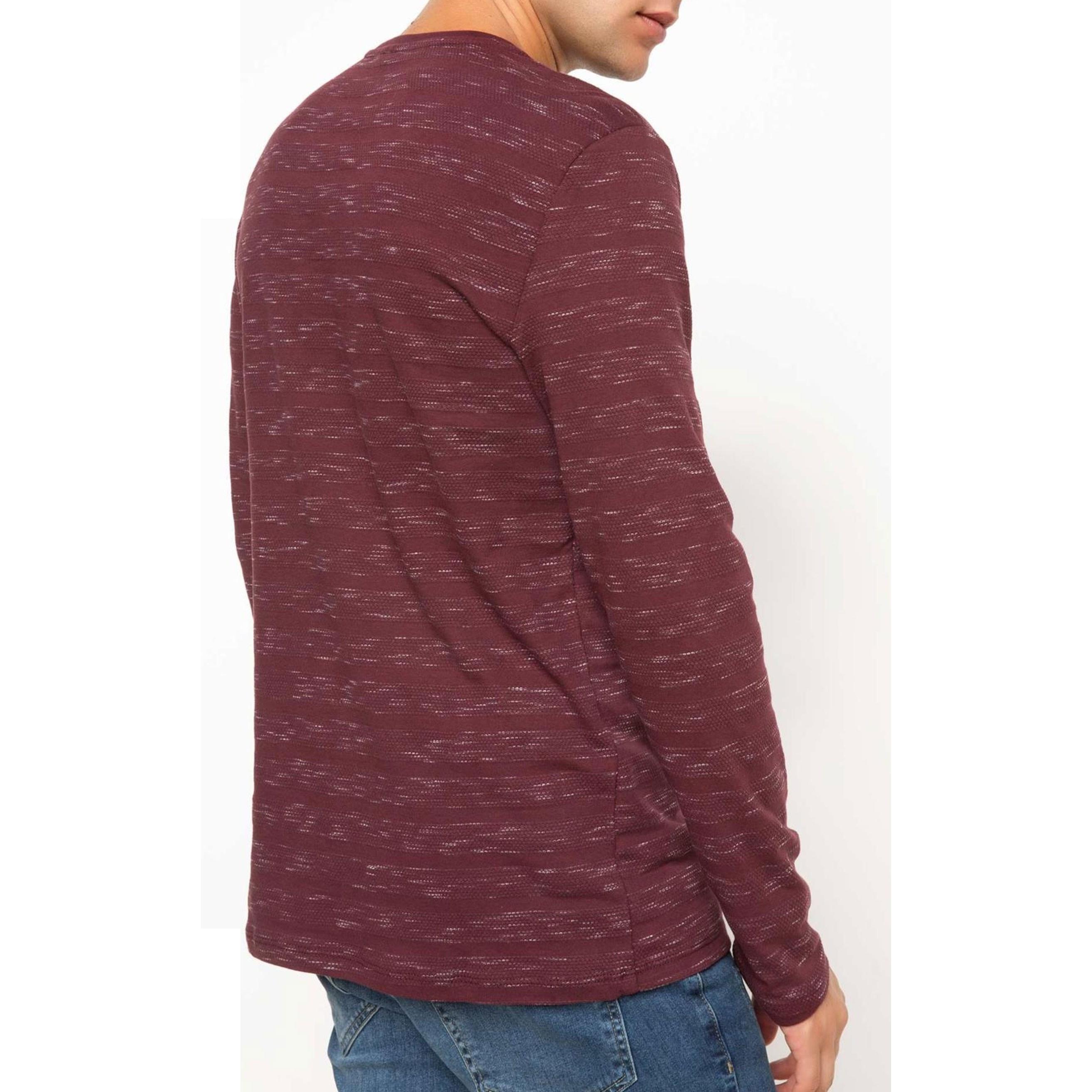 تی شرت نخی یقه گرد مردانه - دفکتو - زرشکي - 3