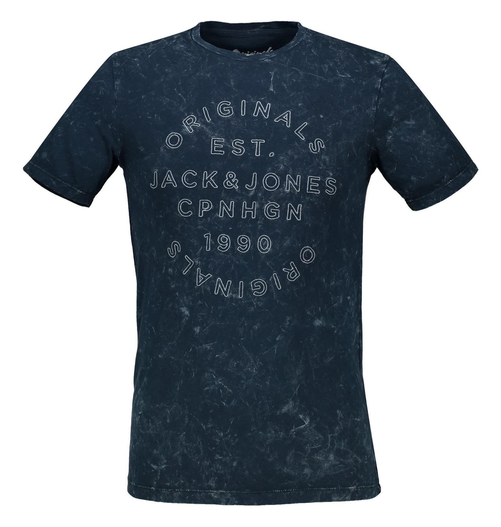 تی شرت نخی یقه گرد مردانه - جک اند جونز - آبي تيره - 1