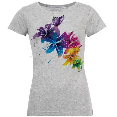 تصویر تیشرت زنانه طرح گل رنگی کد S11