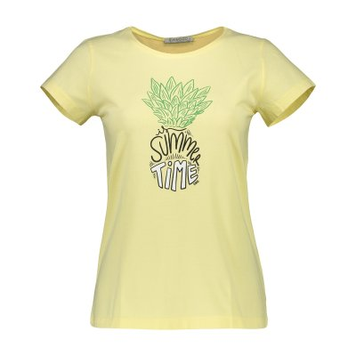 تی شرت زنانه سیاوود مدل CNECK-PINEAPPLE-61818 کد Y0043 رنگ زرد
