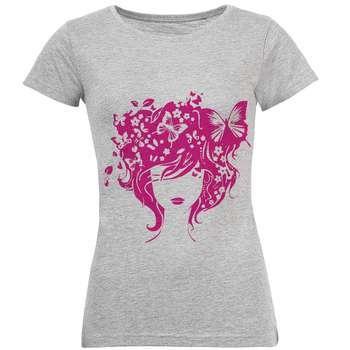 تیشرت زنانه طرح دخترپروانه ای کد S68