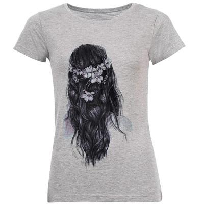 تی شرت زنانه طرح Long Hair Girl کد C69