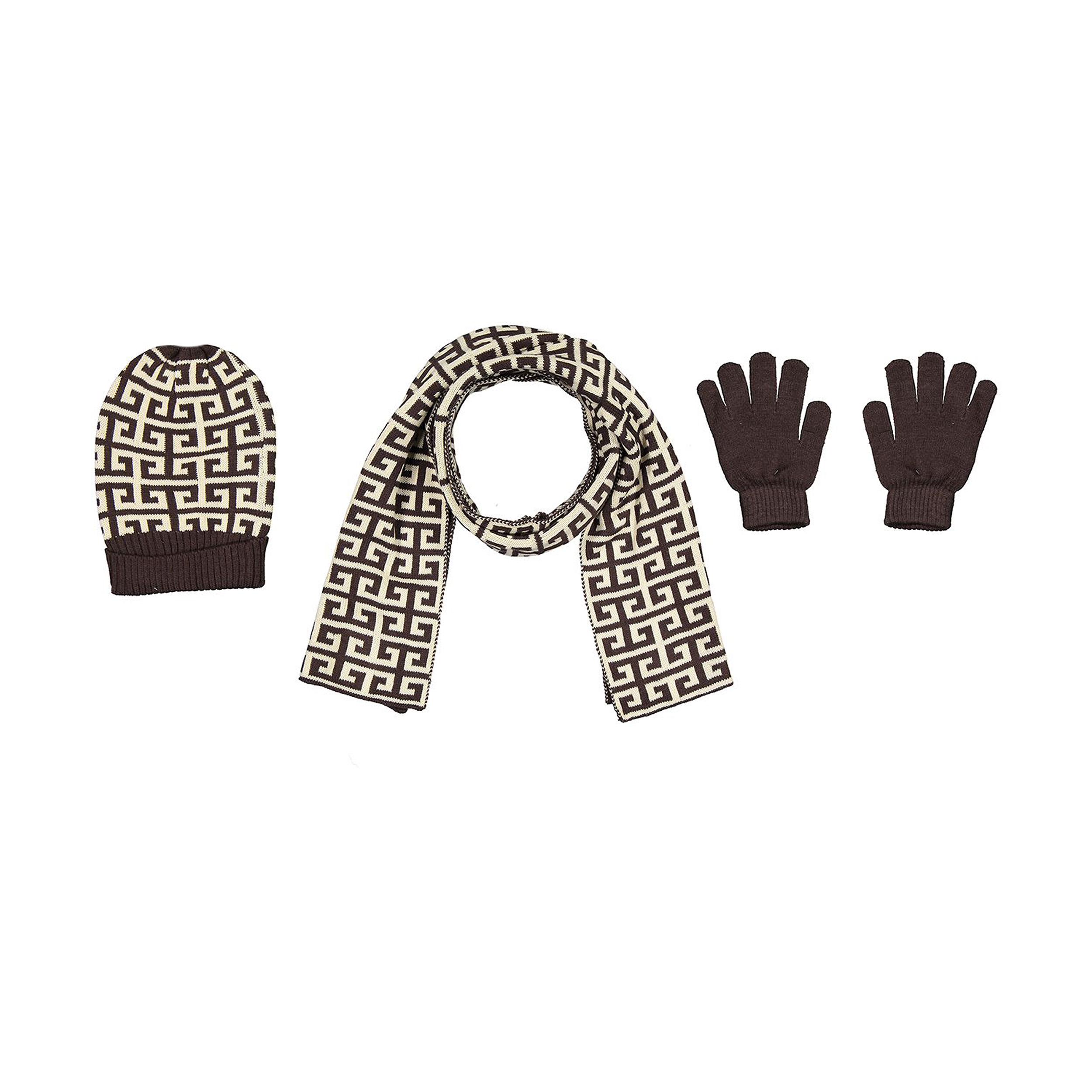ست کلاه، شال و دستکش بافتنی زنانه مدل 3-64