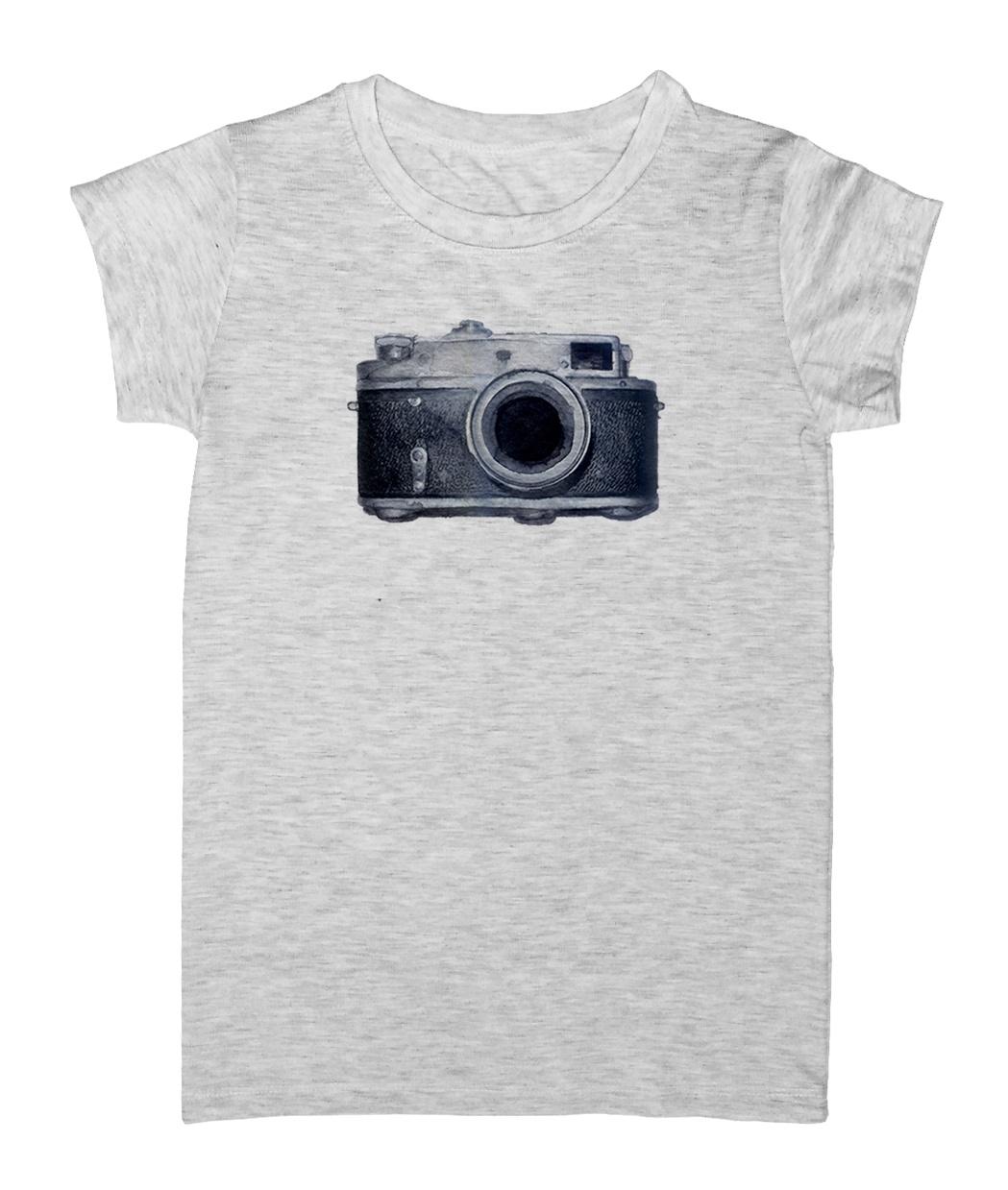 تصویر تی شرت زنانه طرح دوربین عکاسی مدل EZM56