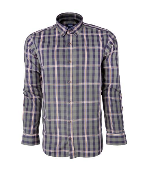 پیراهن مردانه پلاتین طرح چهارخانه کد 1025 رنگ سبز