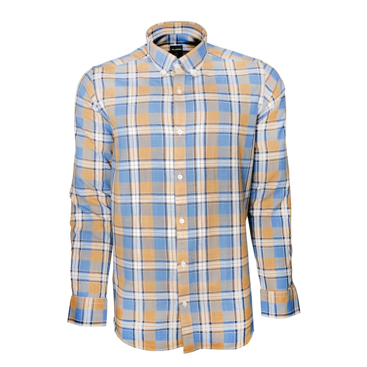 پیراهن مردانه پلاتین طرح چهارخانه کد 1031