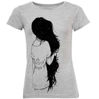 تیشرت زنانه طرح Black Hair Girl کد C96