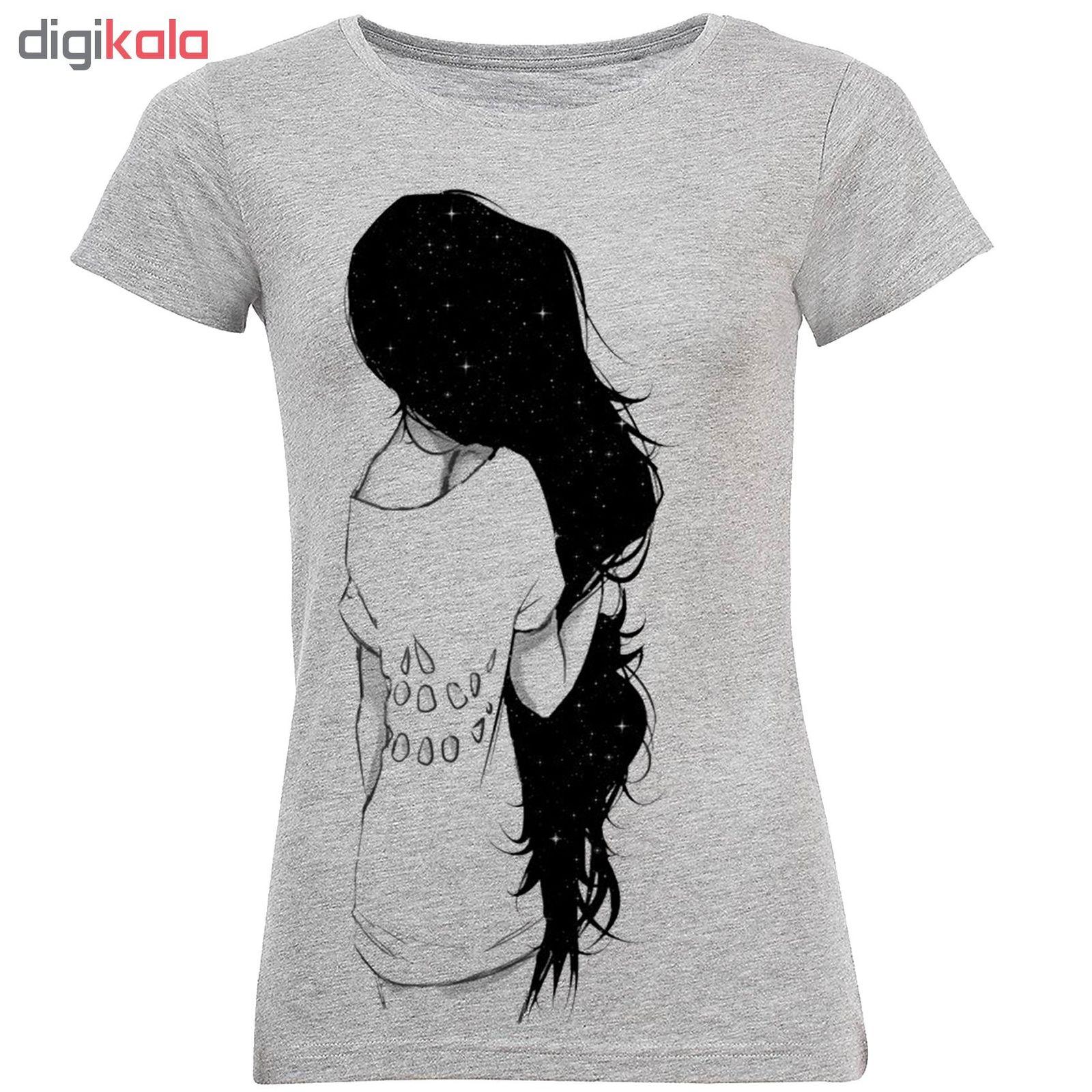 تیشرت زنانه طرح Black Hair Girl کد C96 main 1 1