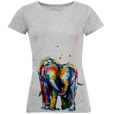 تی شرت زنانه طرح فیل آبرنگی کد S179