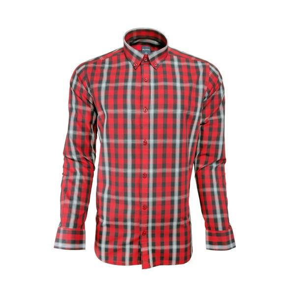 پیراهن مردانه پلاتین طرح چهارخانه کد 1023 رنگ قرمز