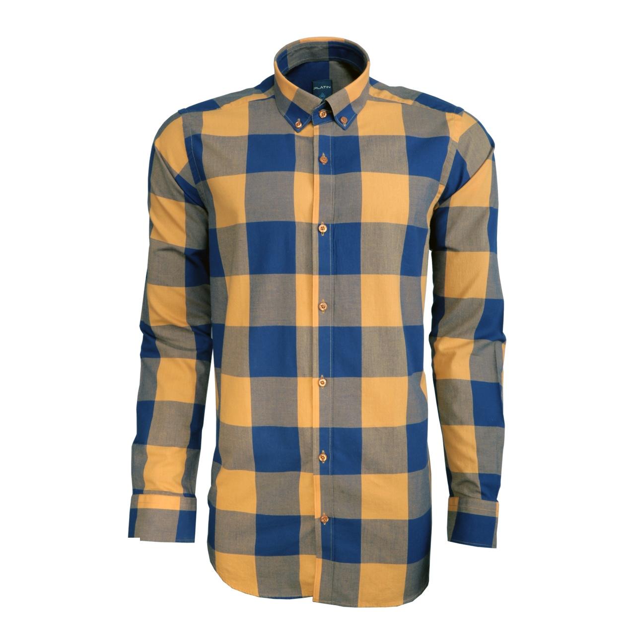 پیراهن مردانه پلاتین طرح چهارخانه کد 1030