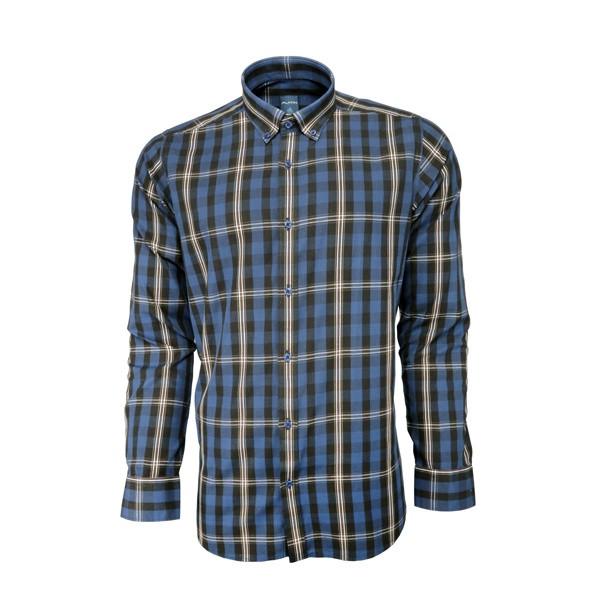 پیراهن مردانه پلاتین طرح چهارخانه کد 1024 رنگ آبی