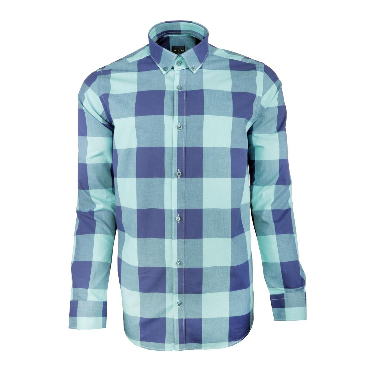 پیراهن مردانه پلاتین طرح چهارخانه کد 1027