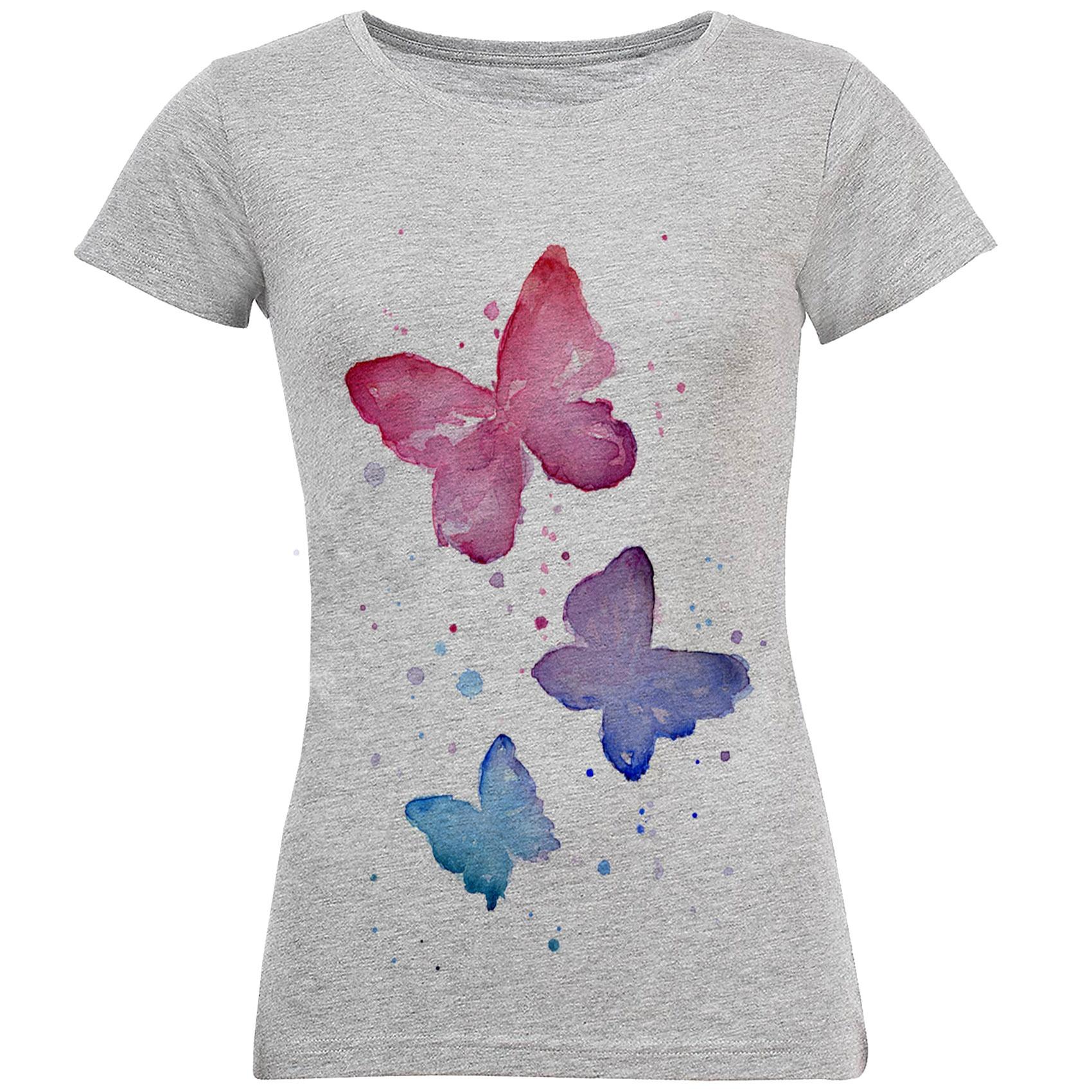 تصویر خرید تی شرت زنانه طرح پروانه آبرنگی کد S178 و راهنمای انتخاب تی شرت