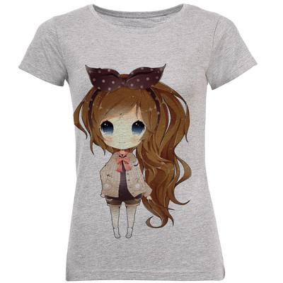 تی شرت زنانه طرح دختر مو بلندکد B134