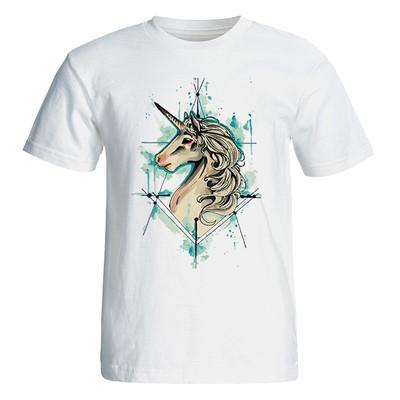 تی شرت آستین کوتاه زنانه طرح یونی کورن کد 4835