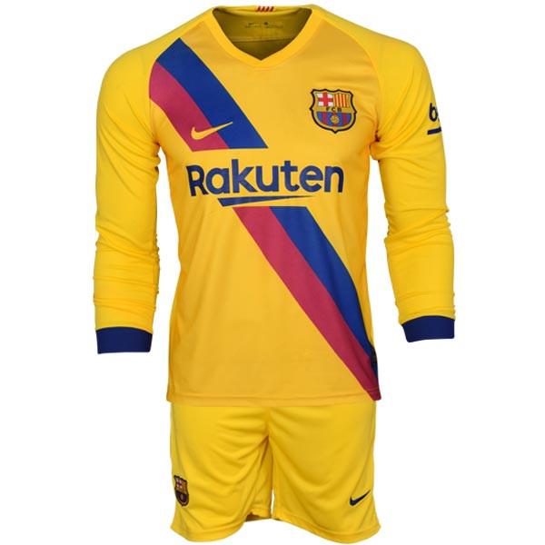 ست پیراهن و شورت ورزشی مردانه طرح بارسلونا کد 2019.20 رنگ  زرد