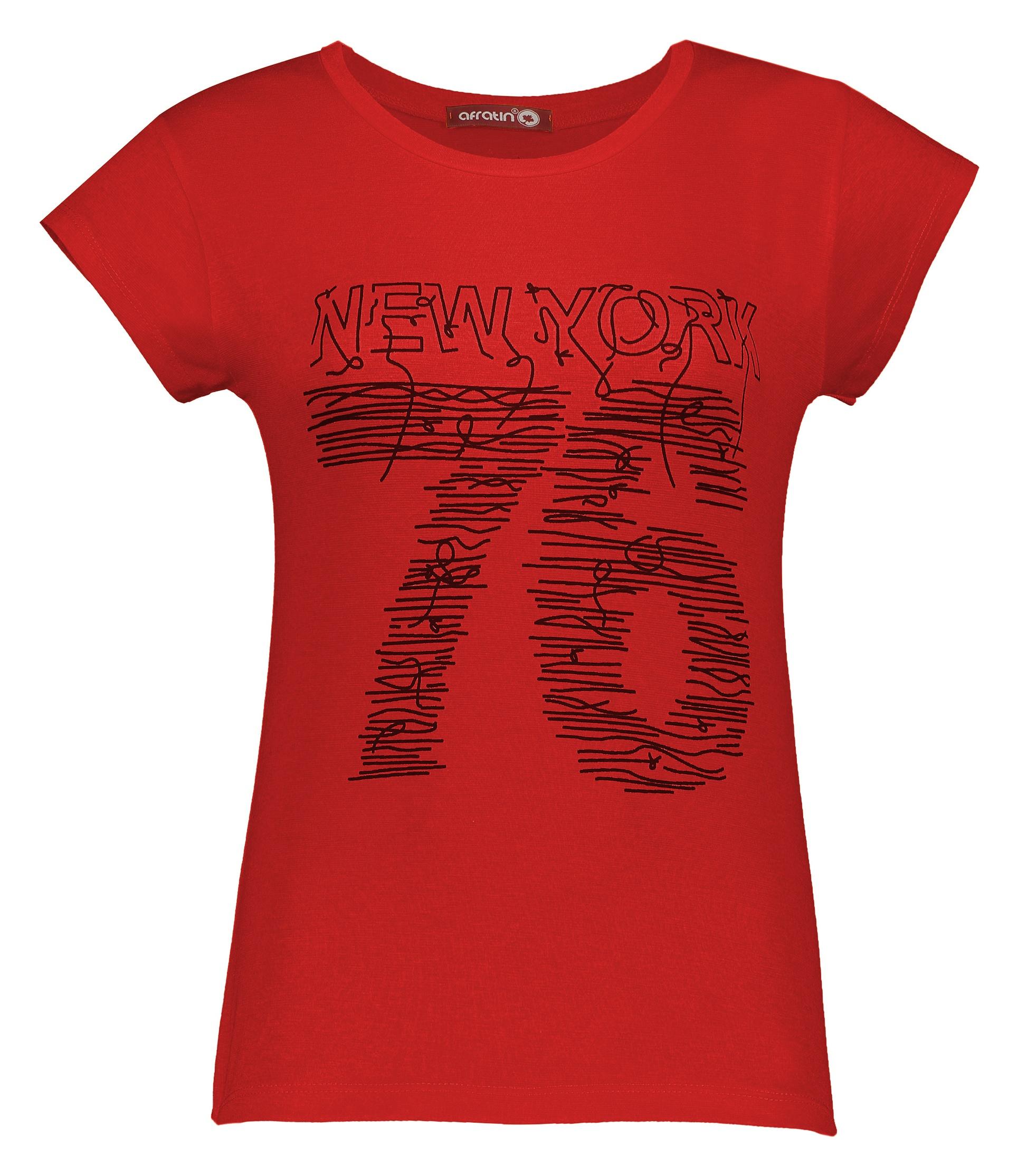 تی شرت زنانه افراتین کد 2535 رنگ قرمز
