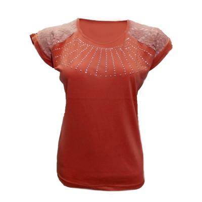 تیشرت آستین کوتاه زنانه طرح خورشید کد tm-212 رنگ قرمز