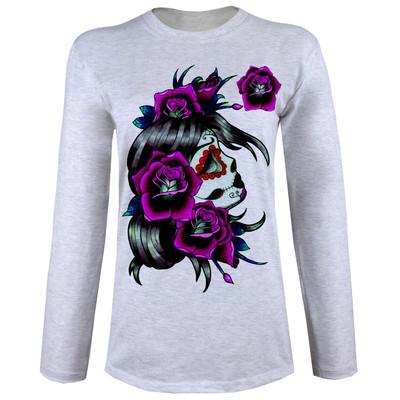 تی شرت  آستین بلند زنانه  طرح گل و اسکلت کد B40